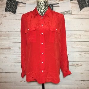 J. Crew Red Silk Button Front Ling Sleeve Blouse